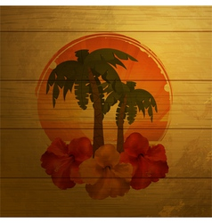 Tropical emblem on wood vector