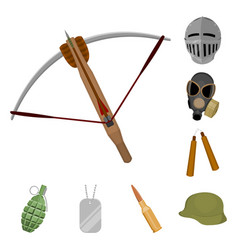 Types of weapons cartoon icons in set collection vector