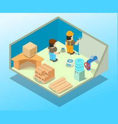 Utility room concept banner isometric style vector
