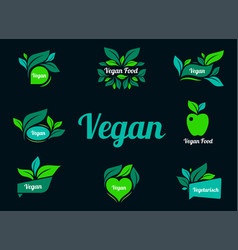 vegan green logo stickers set for product vector image