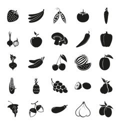 vegetarian delicious food black simple icons set vector image