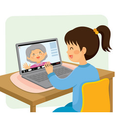video chat with grandma vector image