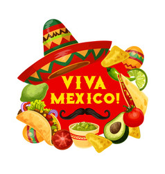 viva mexico holiday food mexican cinco de mayo vector image