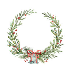 Watercolor christmas wreath with bell and vector