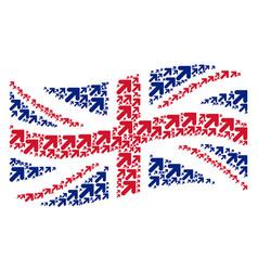 waving british flag mosaic of arrow up right icons vector image