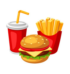 with fast food meal soda fries and vector image