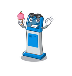 With ice cream information digital kiosk with in vector