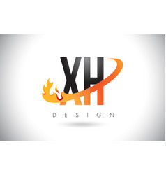 xh x h letter logo with fire flames design vector image