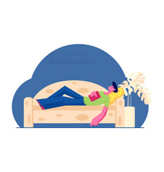 Young man sleeping on sofa with book in hands at vector
