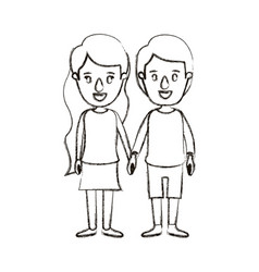 blurred silhouette caricature full body couple in vector image vector image