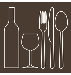 Bottle wineglass fork knife and spoon vector image vector image