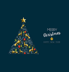 christmas and new year gold luxury pine tree card vector image