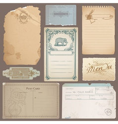 Set of Different Vintage Papers Cards vector image