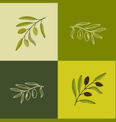 set of olive branches vector image vector image