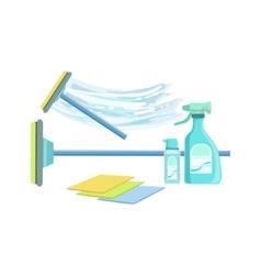 Window Washing Household Equipment Set vector image