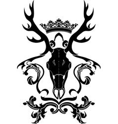Emblem heraldic symbol with deer skull and crown vector image vector image