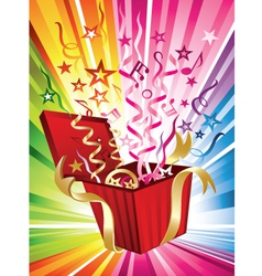 exploding birthday present vector image vector image