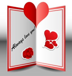 Folded Valentine card vector image vector image