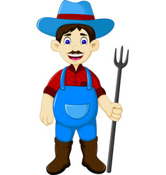 funny male farmer cartoon holding rake vector image