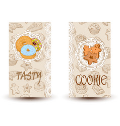 tasty and cookiesdesign elements in sketch style vector image vector image
