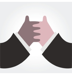 Two hands together on white vector image vector image