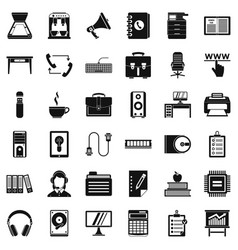 Work book icons set simple style vector