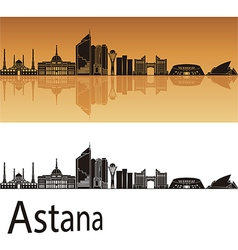 Astana skyline in orange background vector image vector image