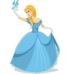 Beautiful Princess with Magic Bird vector image vector image