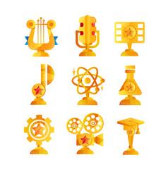 gold awards set various trophy and prize emblems vector image