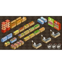 Isometric supermarket vector image vector image