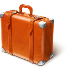 leather big suitcase vector image vector image