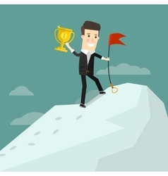 Successful businessman standing on top of a vector image
