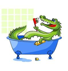 Crocodile in a bathtub vector image vector image
