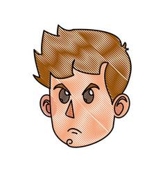 drawing character face head boy kid angry vector image