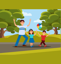 father with his kids playing in ball family vector image