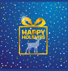 greeting card with logo happy holidays vector image