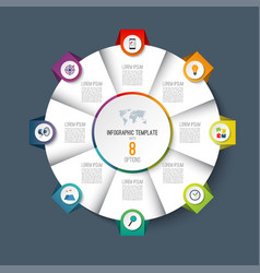 infographic pie chart circle with 8 options vector image vector image