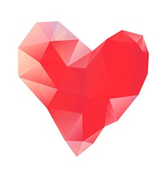 Polygonal red heart on white background vector image