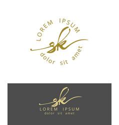s k handdrawn brush monogram calligraphy logo vector image