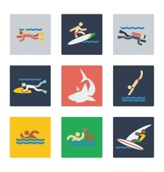 Sea sports flat icons vector image