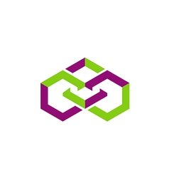 square geometry shape connect logo vector image