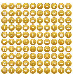 100 horsemanship icons set gold vector
