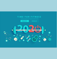 2020 new year fitness concept workout typography vector image