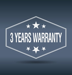 3 years warranty hexagonal white vintage retro vector