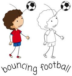 A doodle boy bouncing football vector