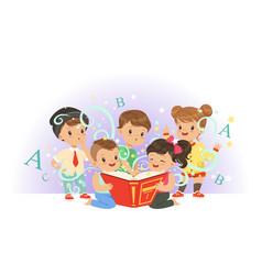 Adorable preschool kids boys and girls reading vector