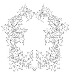 Adult coloring bookpage two christmas brunches vector