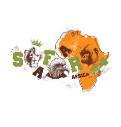 Africa map with animal faces vector
