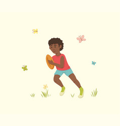 African american running with a ball vector