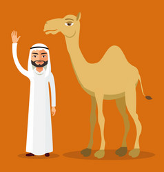 arab man waving her hand and funny camel vector image